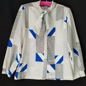 70s 80s Geometric Print Blouse Large